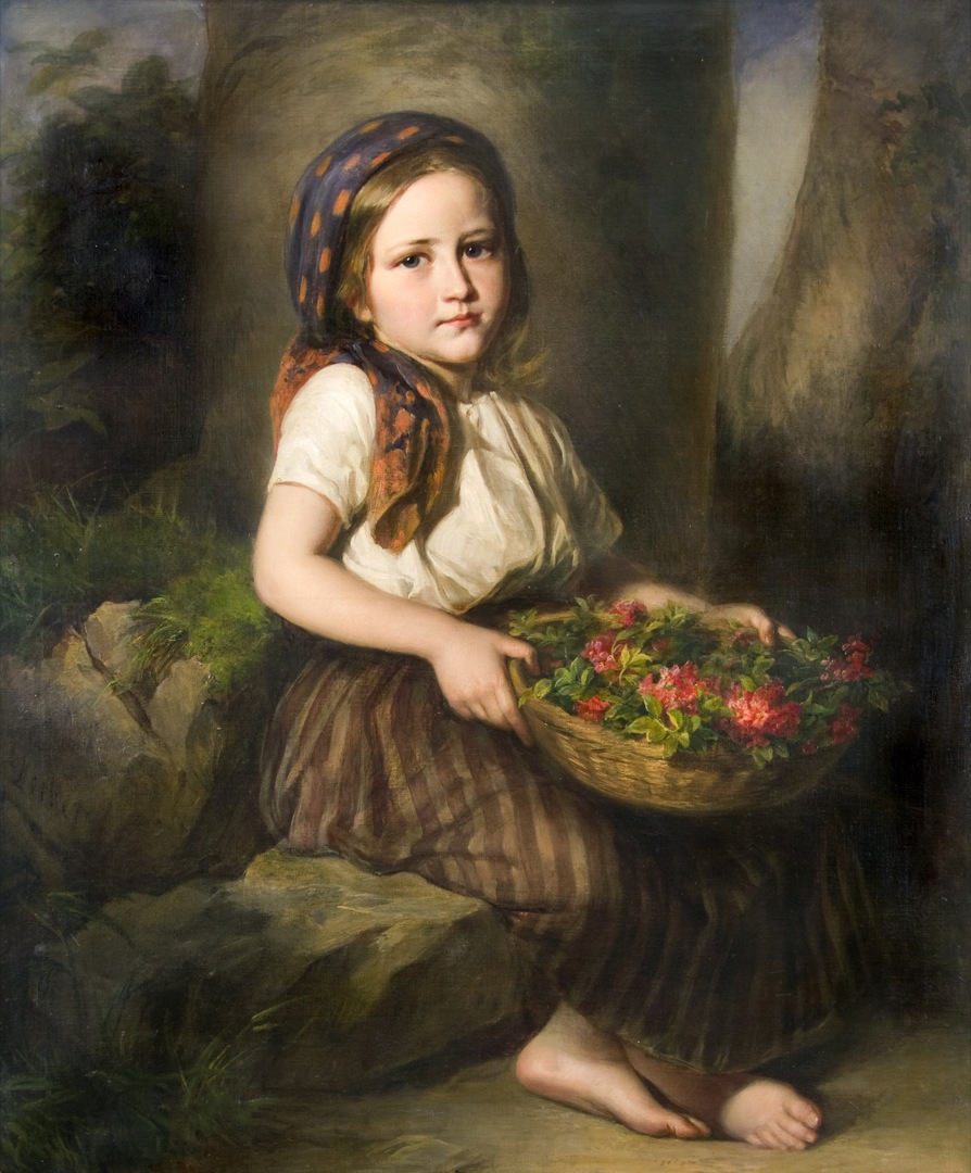 Girl with a Basketfull of Roses