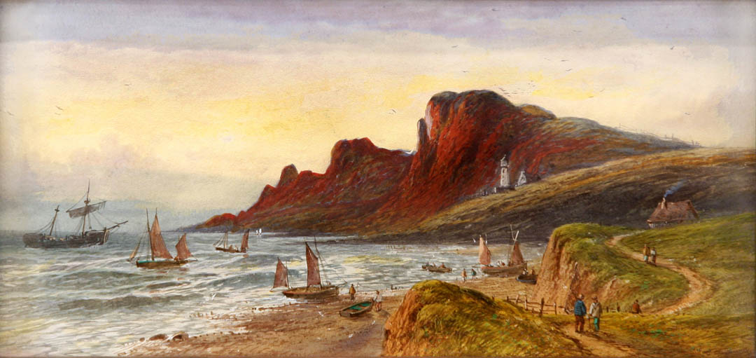 Scottish Coastal Landscape with Fisherfolk