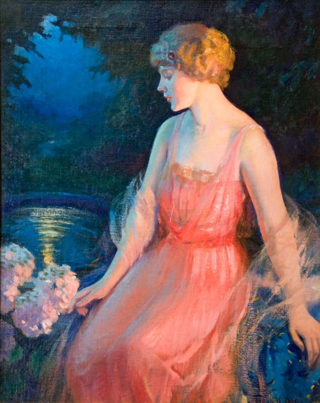 Woman in a Pink Dress in the Moonlight