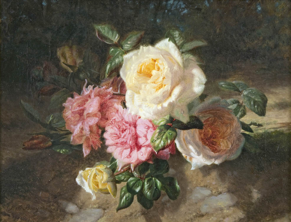 Still Life with White Roses and Peonies