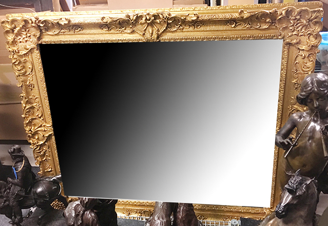F34 French 19th-century, Louis XV-style, Composition and gilded wood frame