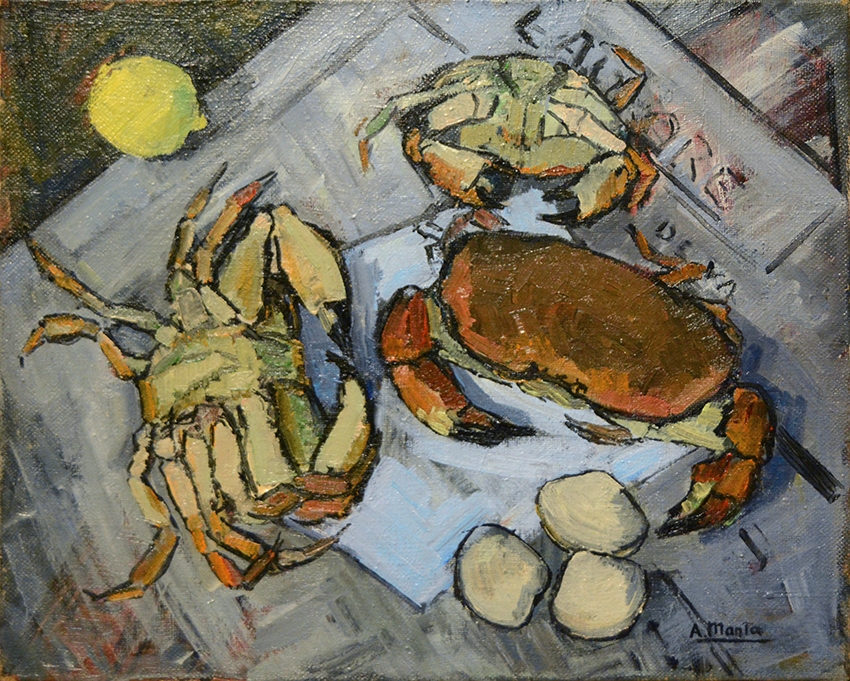 """Nature morte: crabes sur le journal """"L'Aurore"""""""