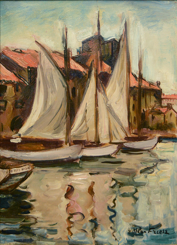 Sailboats at the Quai du Parti, Toulon, 1926