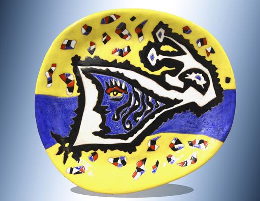 Blue Moon Blue Moon (Yellow & blue oblong platter), no. 10/50