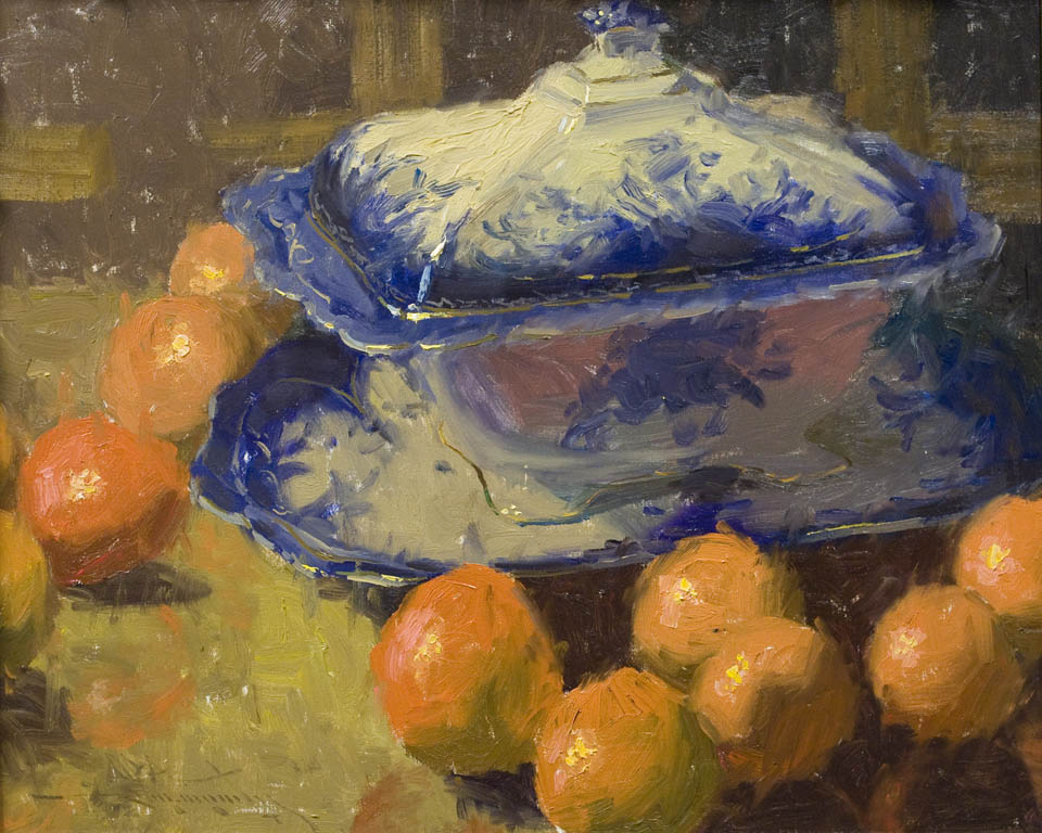 Flo Blue Platter and Tureen with Oranges