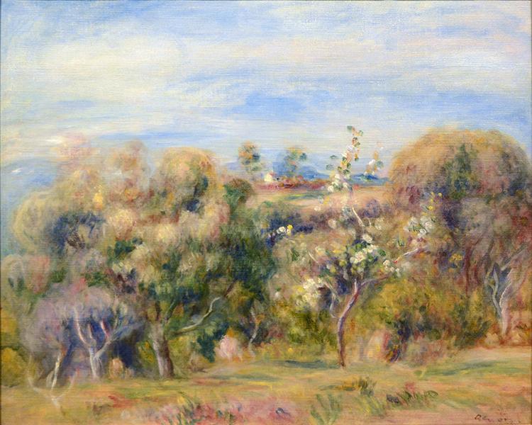 Paysage: arbres et maison (Paysage de Cagnes)