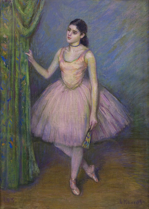 Dancer in Pink in front of Green Curtain