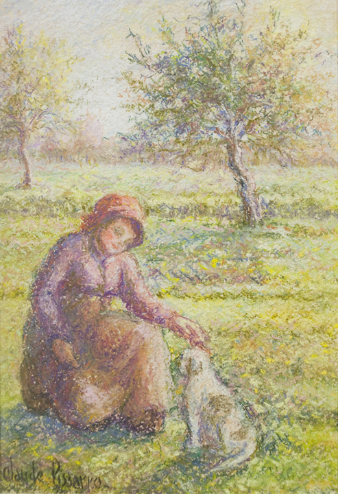 Céline et Pipo dans le pré (A Girl and Her Dog in the Meadow)