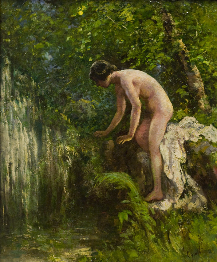 Nude by waterfall
