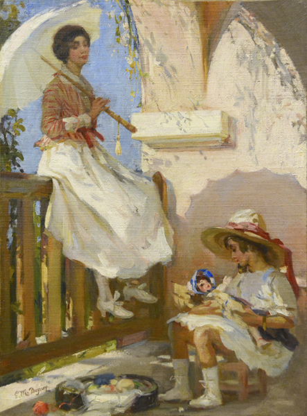 Jeune femme avec un ombrelle et son enfant (Young Woman with Umbrella and her Daughter)