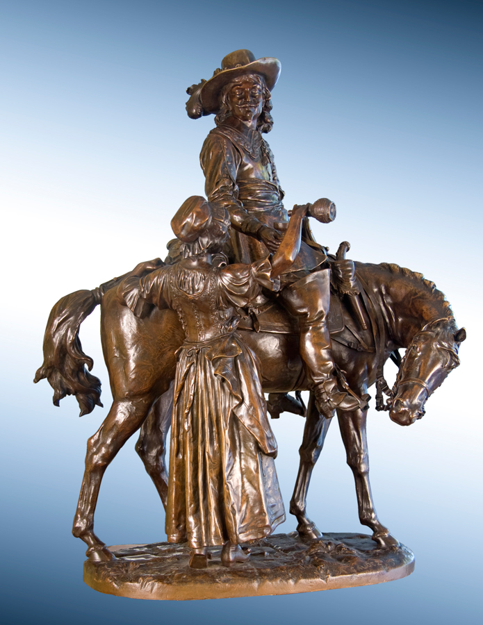Cavalier on Horseback with Wine Maiden