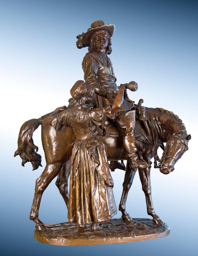 Cavalier on Horseback with Wine Maiden