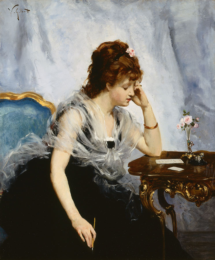 A Young Lady Writing a Letter, ca.1875