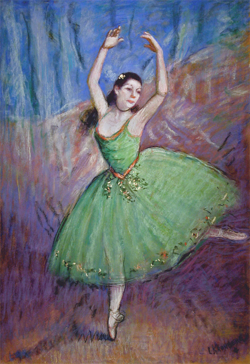 Ballerina in Green and Violet