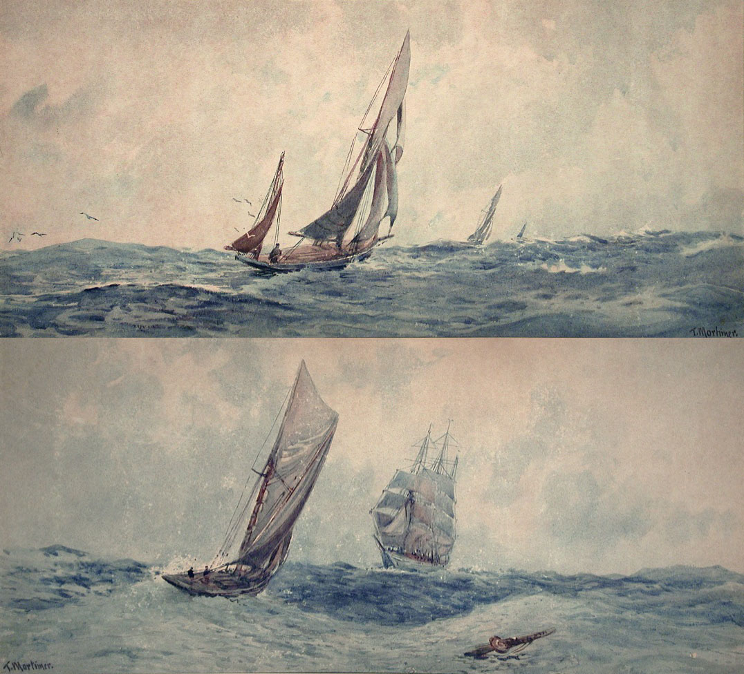 Full Sail and Approaching Vessel (a pair)