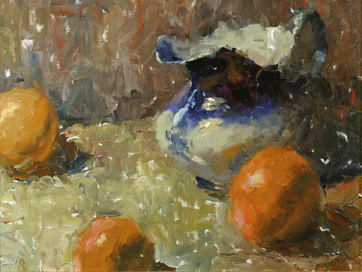 Flo Blue Pitcher with Oranges