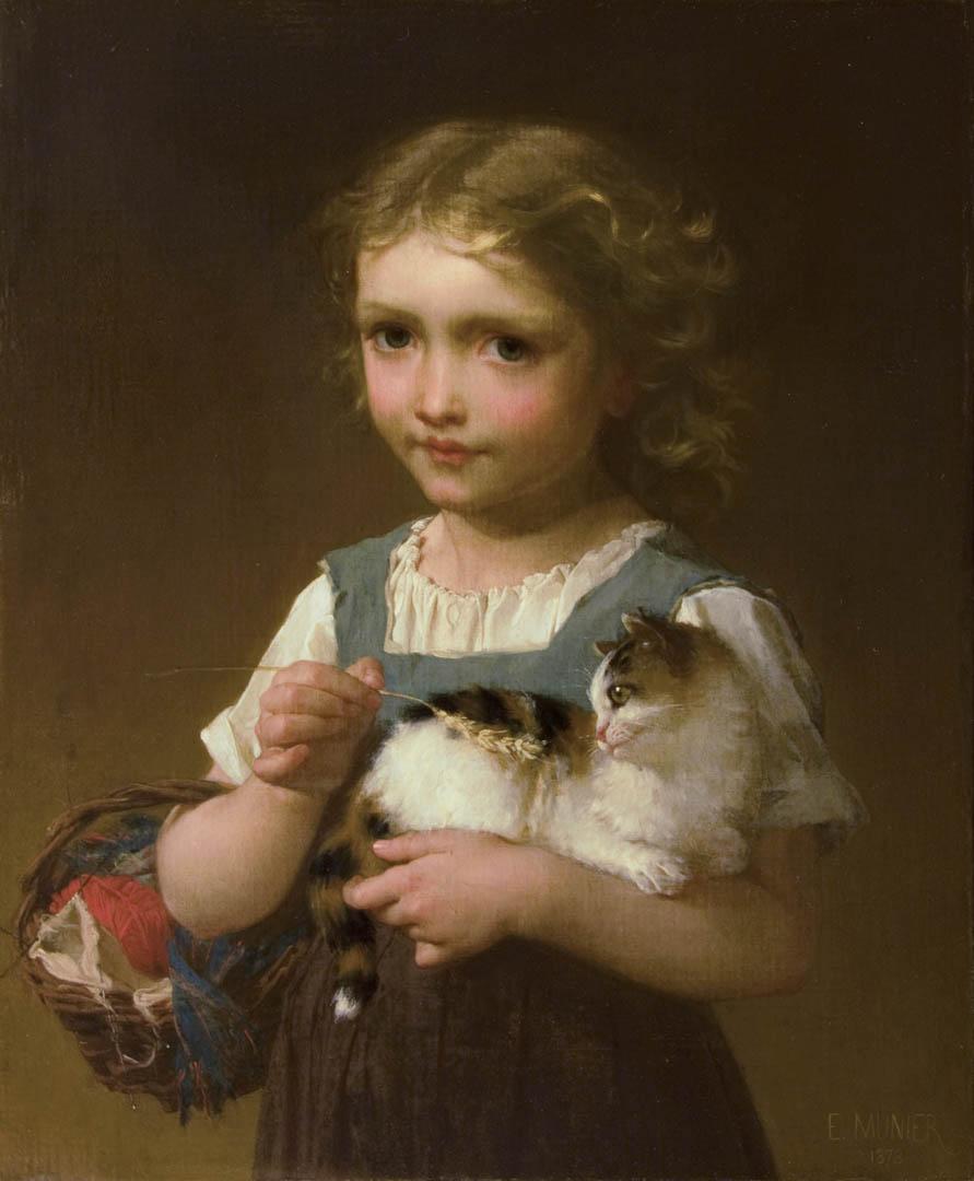 Girl with Kitten (The Pet Kitten)