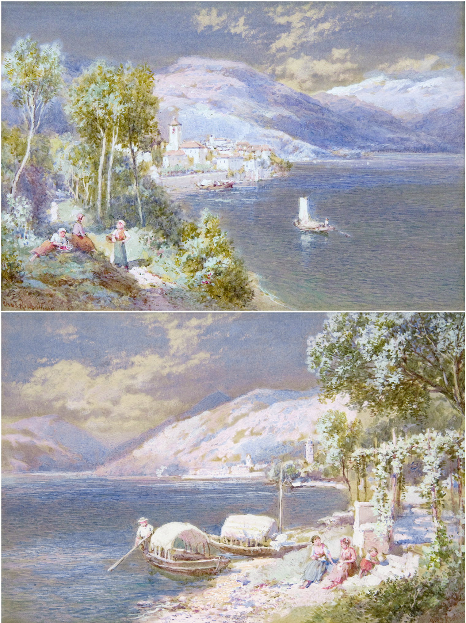 Bellagio on Lake Como and Brissajio on Lake Maggiore (PAIR)