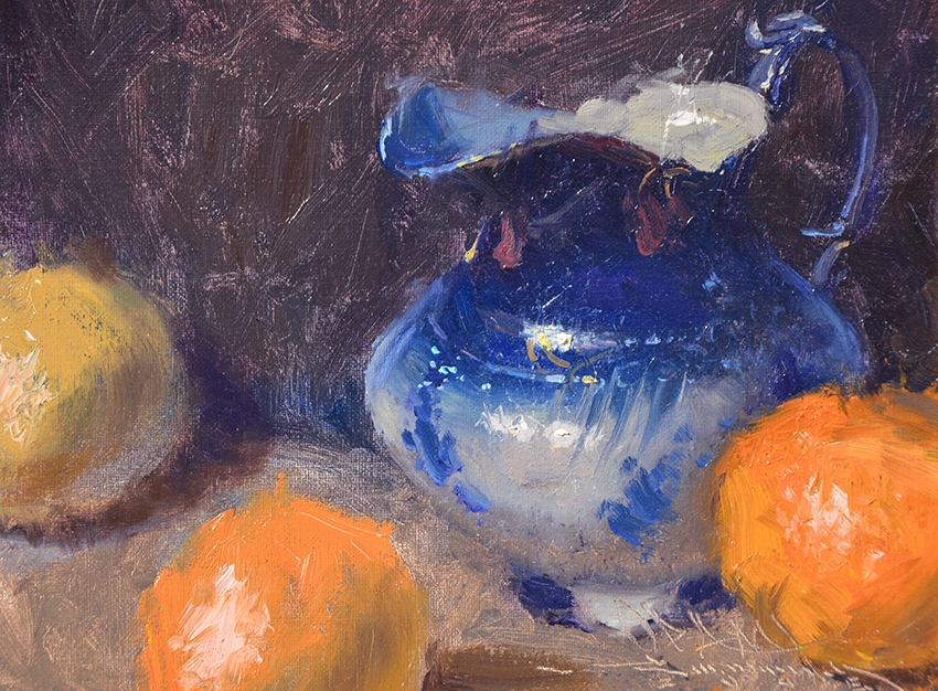 Flo-blue Pitcher and Oranges