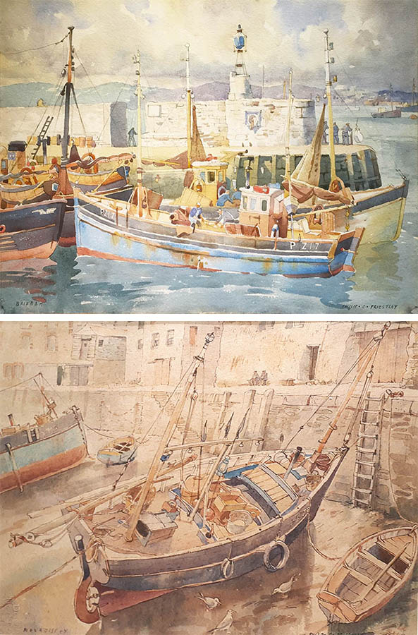 Inner Harbor, Brixham and Ships at Low Tide, Mevagissey (pair)
