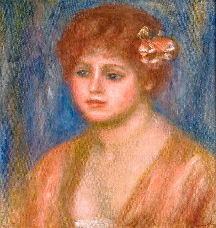 Andree a la rose (sur fond bleu), ca. 1915