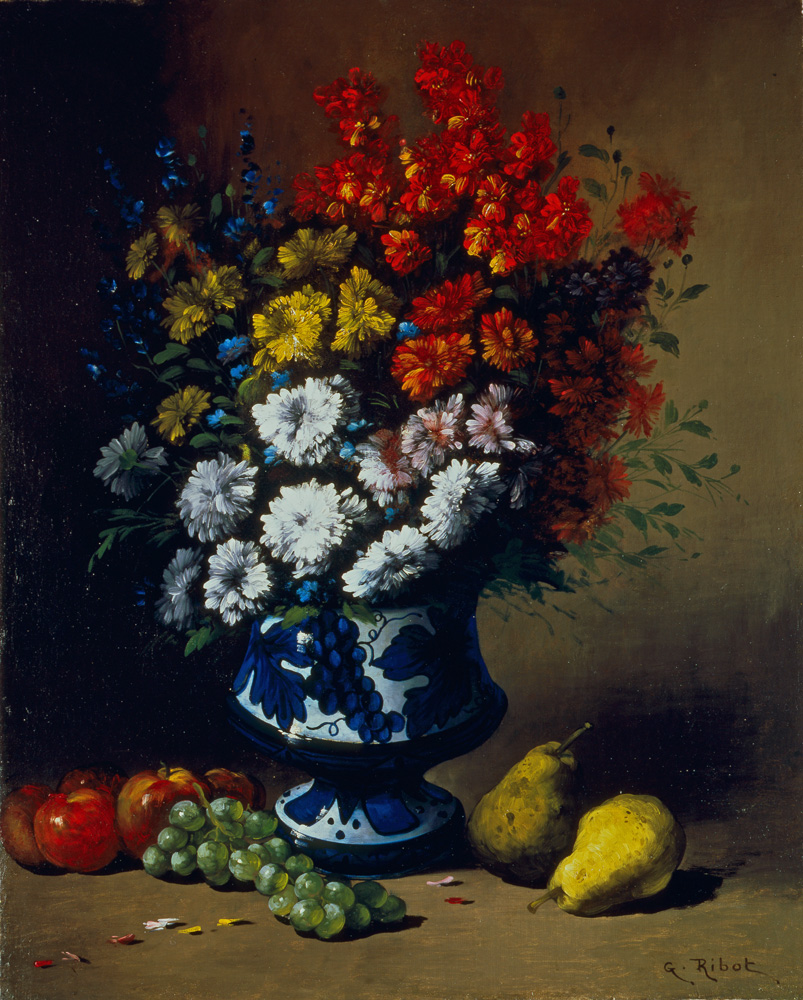 Floral Still Life with Pears on a Ledge
