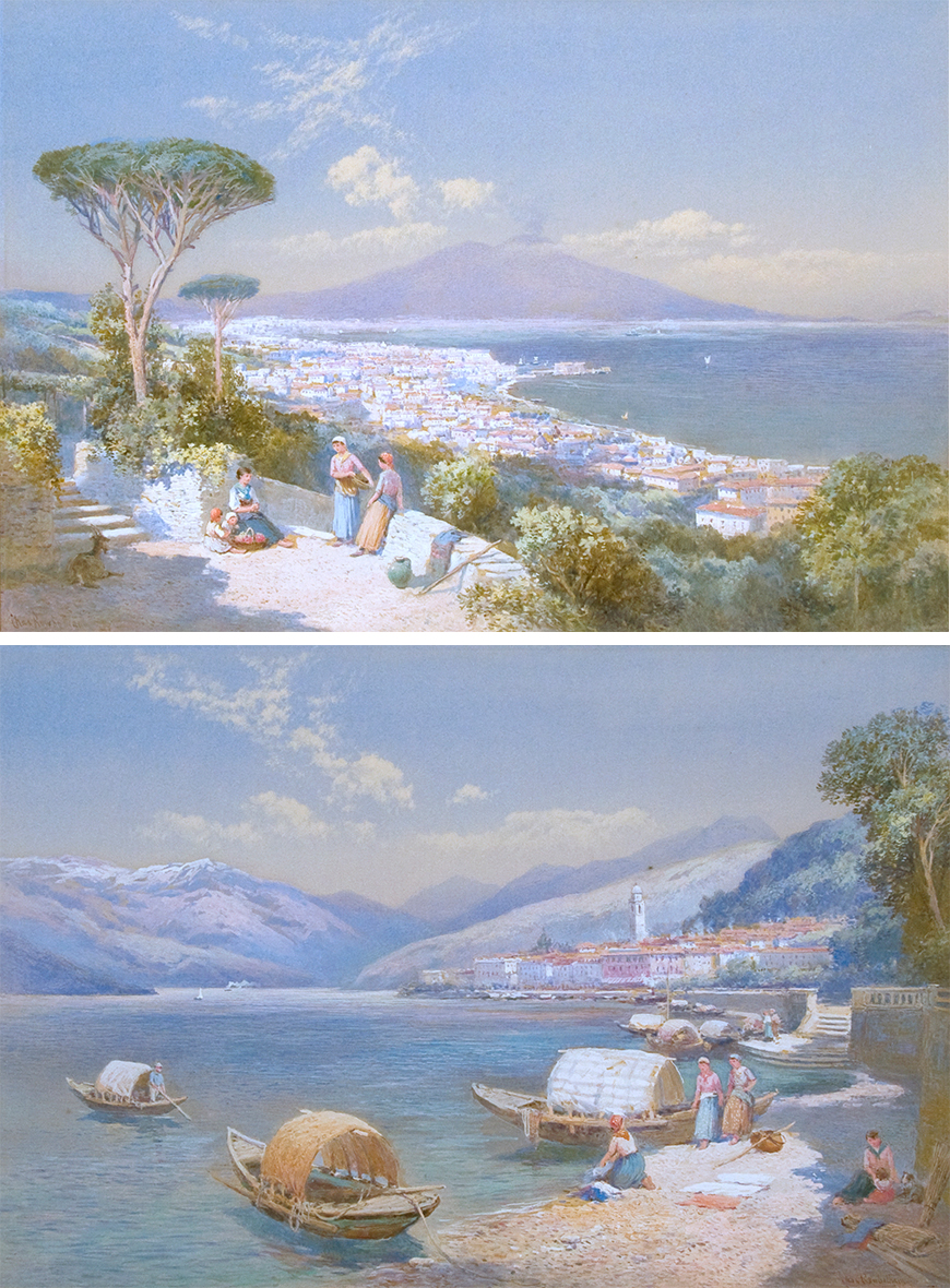 View of Bay of Naples; View of Bellagio (Lake Como) PAIR