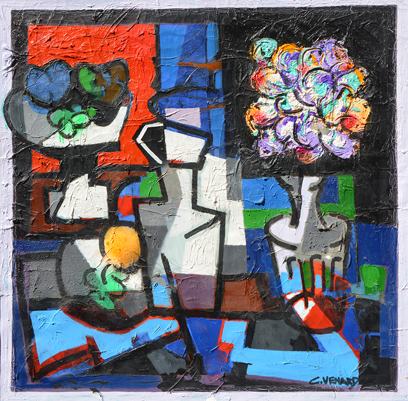 Still Life  with Vase of Flowers, Fruit and Jug