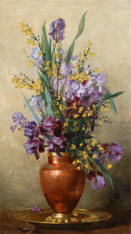 Still-Life of Irises in a Copper Vase